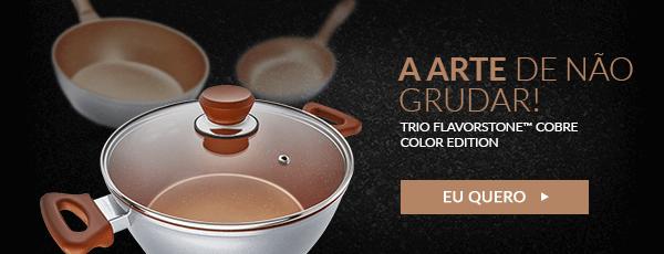 Trio De Panelas Flavorstone? 24cm Cobre Color Edition + 1 Tampa Grátis